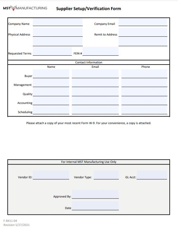Supplier Set Up-Verification